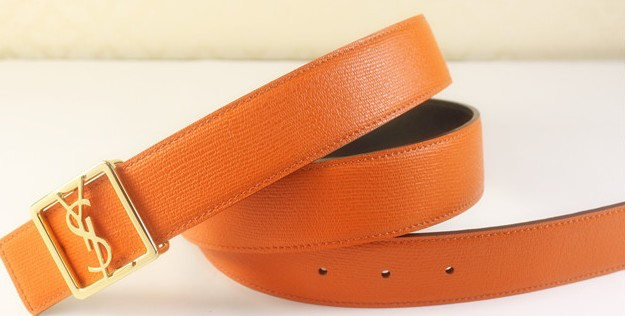 2013 Cheap YSL Leather belt in papapya with gold buckle,Discount Ysl belt on sale