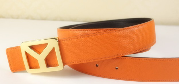 2013 new YSL belt with gold Y buckle orange,Ysl belt outlet
