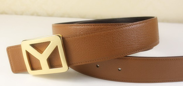 2013 new YSL belt with gold Y buckle brown,Ysl belt outlet