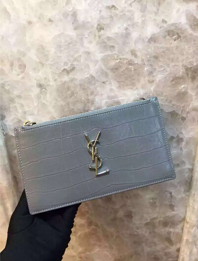 Fall/Winter 2015 Saint Laurent Bag Cheap Sale-Saint Laurent Zippy Clutch in Fog Crocodile Embossed Leather