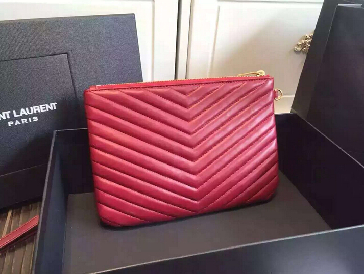 Fall/Winter 2015 Saint Laurent Bag Cheap Sale-Saint Laurent Zippy Clutch in Burgundy Matelasse Lambskin Leather
