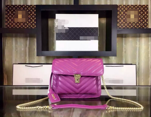 Fall/Winter 2015 Saint Laurent Bag Cheap Sale-Saint Laurent Medium High School Satchel in Purple Matelasse Leather