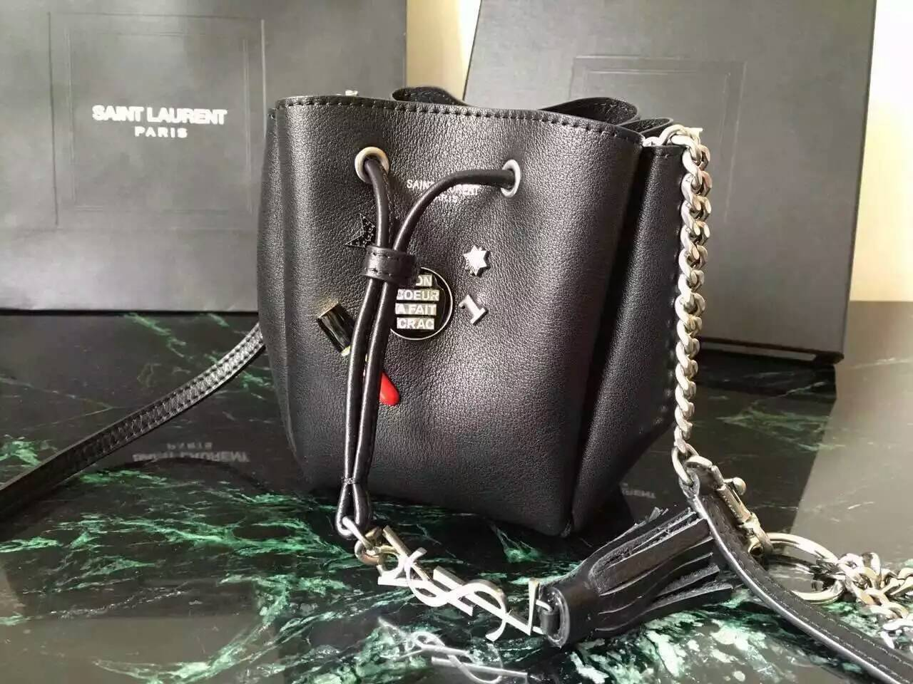 Limited Edition!2016 New Saint Laurent Bag Cheap Sale-Saint Laurent Small Emmanuelle Bucket Bag in Black Leather with Lipstick Decoration