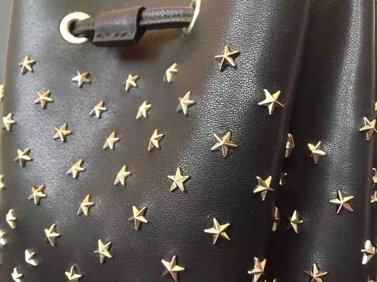 Limited Edition!2016 New Saint Laurent Bag Cheap Sale-Saint Laurent Small Emmanuelle Bucket Bag in Black Leather with Stars