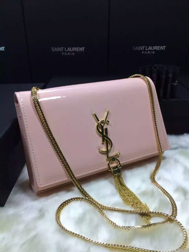 2015 New Saint Laurent Bag Cheap Sale-Classic Monogram Saint Laurent Tassel Satchel in Blossom Pink Patent Leather