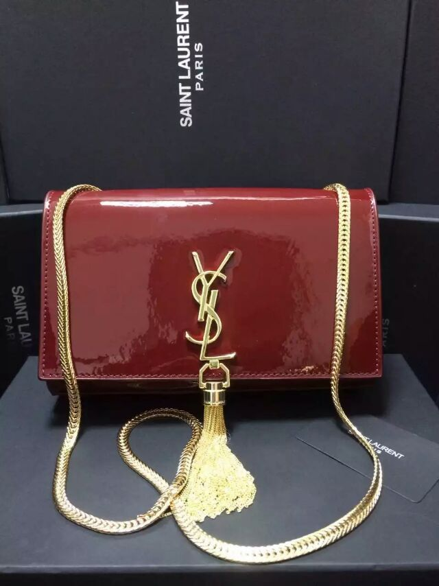 2015 New Saint Laurent Bag Cheap Sale-Classic Monogram Saint Laurent Tassel Satchel in Wine Patent Leather
