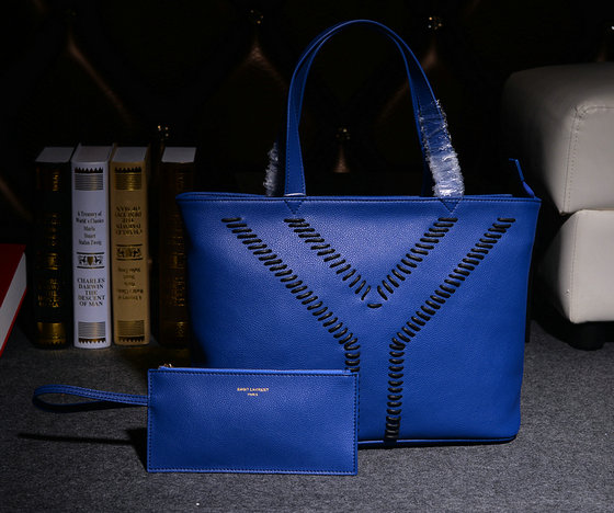 2014 Fall/Winter YSL Grained Leather Tote Bag Y7138 with Zip Pouch