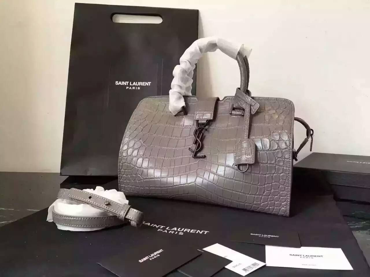 S/S 2016 New Saint Laurent Bag Cheap Sale-Saint Laurent Small Monogram Cabas Bag in Fog Crocodile Embossed Leather