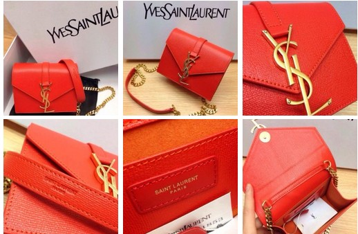 -2014 Saint Laurent Monogramme Saint Laurent Bag in orangeLeather