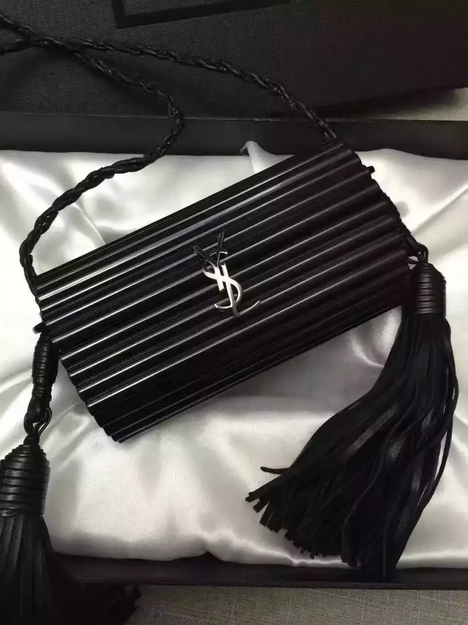 Limited Edition!2016 Cheap YSL Out Sale with Free Shipping-Saint Laurent Opium Minaudiere Bag in Black Plexiglas and Black Leather
