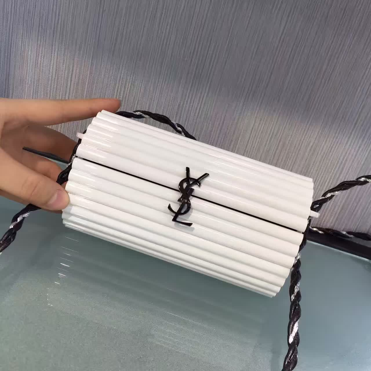 Limited Edition!2016 Cheap YSL Out Sale with Free Shipping-Saint Laurent Opium Minaudiere Bag in White Plexiglas and Black Leather