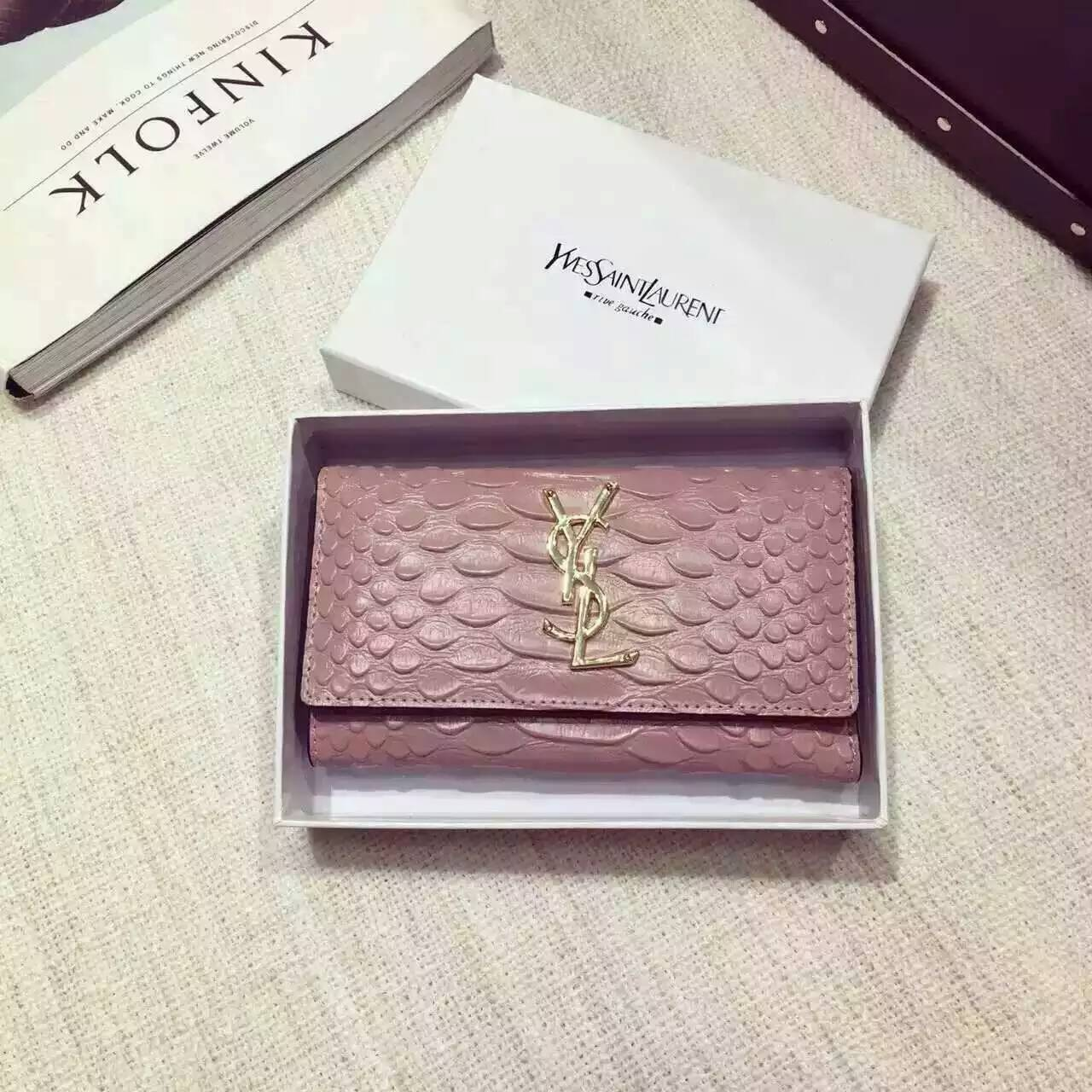 Limited Edition!2016 New Saint Laurent Small Leather Goods Cheap Sale-Saint Laurent Wallet in Pink Python Embossed Leather
