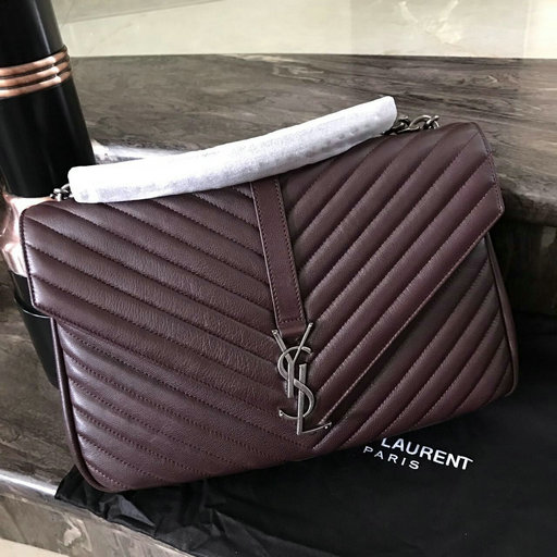 2016 New Saint Laurent Bag Cheap Sale-Saint Laurent Classic Medium COLLEGE MONOGRAM Bag in Bordeaux MATELASSE Leather