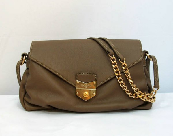Ysl Dandy Flap Bag In Coffee Textured Leather99983