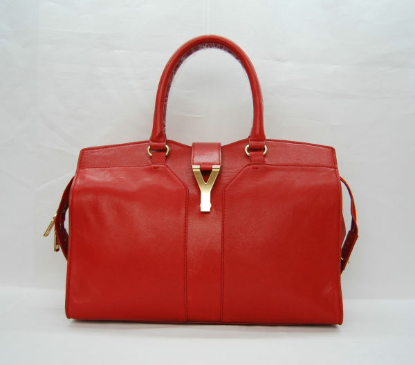 YSL Cabas 2012-Yves Saint Laurent Cabas Chyc In Red Suede Women's Top Handle Bag 110133