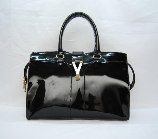 YSL Cabas 2012-Yves Saint Laurent Cabas Chyc In Black Patent Leather Women's Top Handle Bag 110131