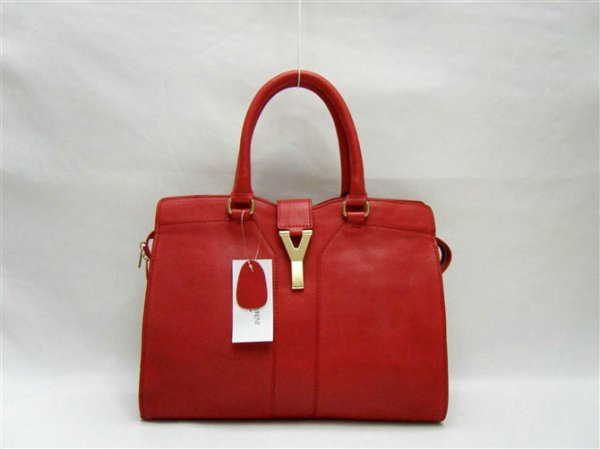 Ysl Large Cabas Chyc Red Leather Top Handle Large Bag 99968