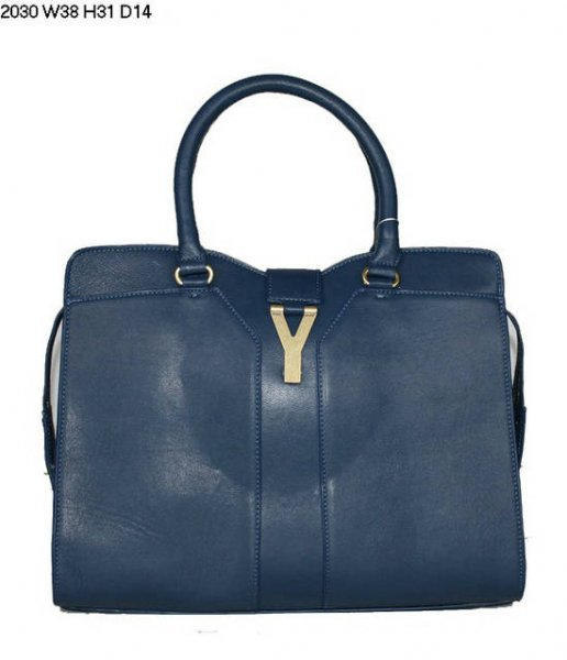 YSL Cabas 2012-Yves Saint Laurent Cabas Chyc In Blue Leather Women's Handle Bag 26406
