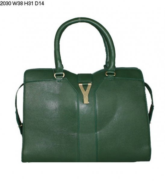 YSL Cabas 2012-Yves Saint Laurent Cabas Chyc In Green Leather Women's Handle Bag 26415