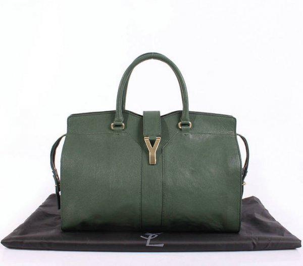 YSL Cabas 2012-Yves Saint Laurent Cabas Chyc In Green Leather Women's Top Handle Bag 26380