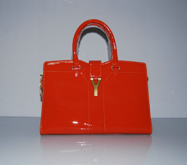YSL Cabas 2012-Yves Saint Laurent Cabas Chyc In Orange Patent Leather Women's Top Handle Bag 110114