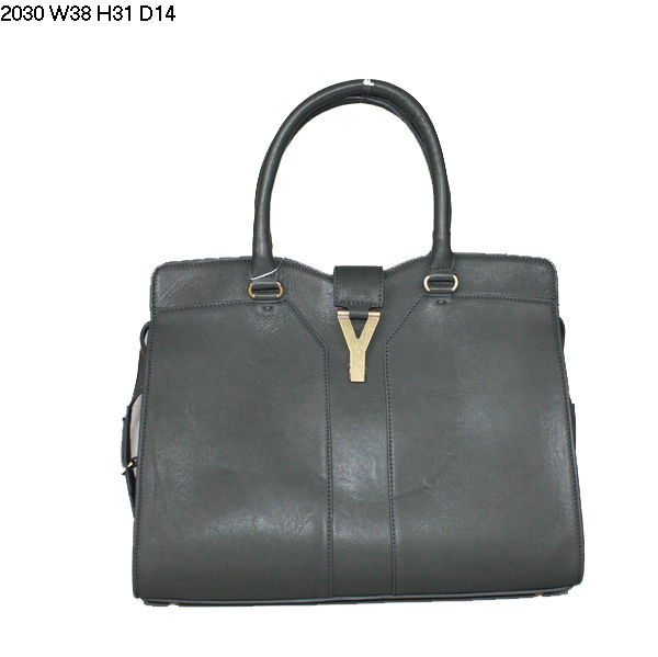 YSL Cabas 2012-Yves Saint Laurent Cabas Chyc In Gray Leather Women's Handle Bag 26410