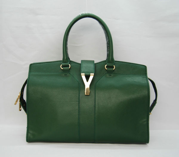 YSL Cabas 2012-Yves Saint Laurent Cabas Chyc In Green Suede Women's Top Handle Bag 136129