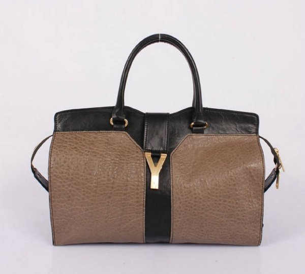 YSL Cabas 2012-Yves Saint Laurent Cabas Chyc In Black And Khaki Leather Women's Top Handle Bag 2645