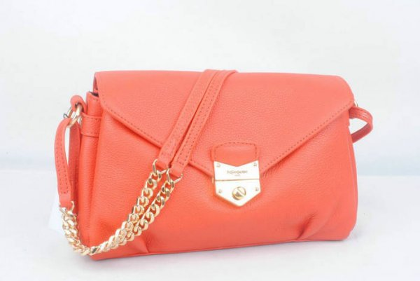Cheap YSL Handbags-Yves Saint Laurent Dandy Bag In Orange Textured Leather 160477 - Click Image to Close