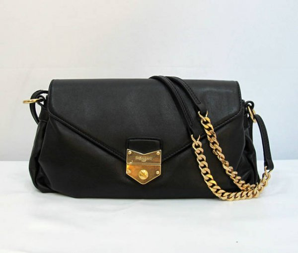 Ysl Dandy Flap Bag In Black Textured Leather 99984