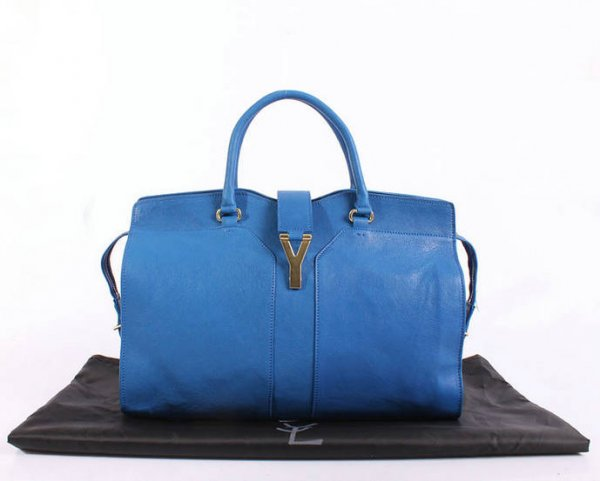 YSL Cabas 2012-Yves Saint Laurent Cabas Chyc In Blue Leather Women's Top Handle Bag 26376