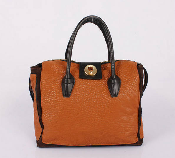 Discount YSL Muse In Orange Leather Women's Top Handle Bag 9964