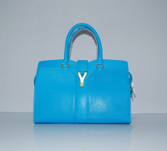 YSL Cabas 2012-Yves Saint Laurent Cabas Chyc In Blue Suede Women's Top Handle Bag 136123
