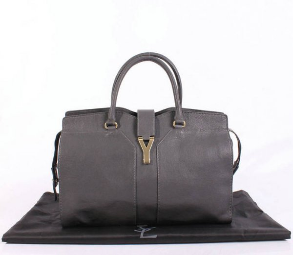 YSL Cabas 2012-Yves Saint Laurent Cabas Chyc In Gray Leather Women's Top Handle Bag 26383 - Click Image to Close