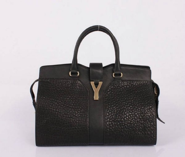 YSL Cabas 2012-Yves Saint Laurent Cabas Chyc In Black Leather Women's Top Handle Bag 26430
