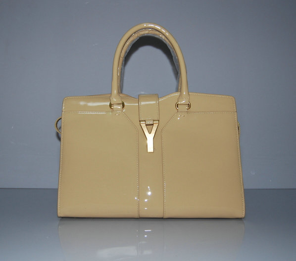 YSL Cabas 2012-Yves Saint Laurent Cabas Chyc In Apricot Patent Leather Women's Top Handle Bag 110125