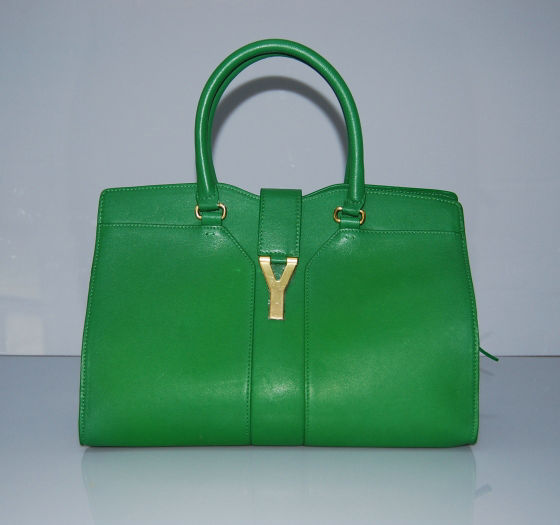 YSL Cabas 2012-Yves Saint Laurent Cabas Chyc In Green Suede Women's Top Handle Bag 136115