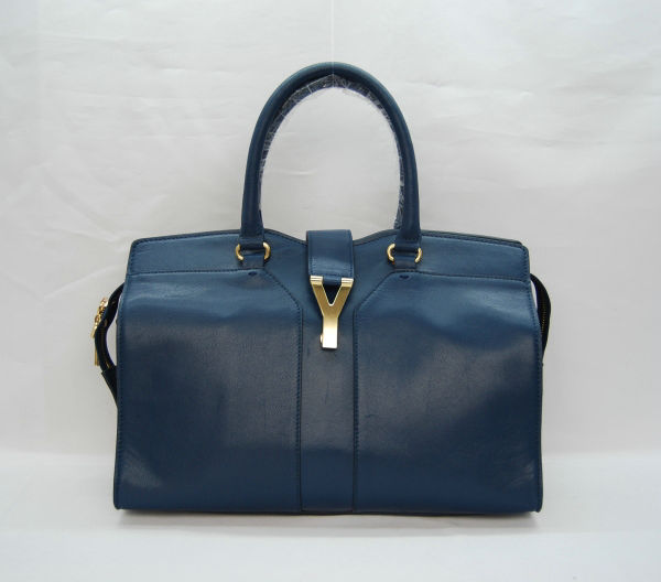 YSL Cabas 2012-Yves Saint Laurent Cabas Chyc In Sapphire Suede Women's Top Handle Bag 110135