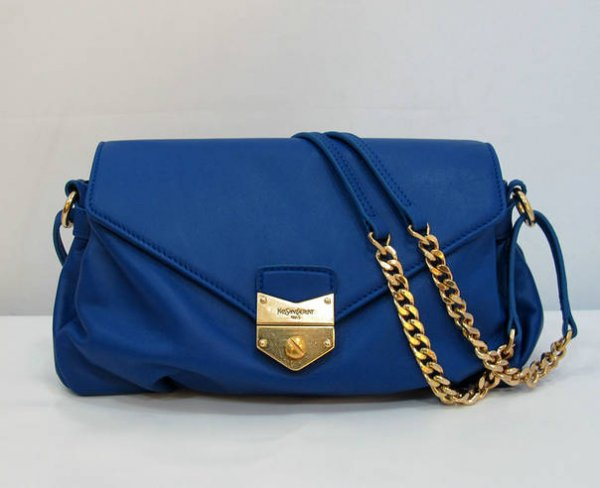 Ysl Dandy Flap Bag In Blue Textured Leather99982