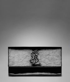 YSL Bags 2013-Yves Saint Laurent Clutch In Black Patent Leather Women's Logo Clutch