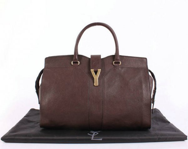 YSL Cabas 2012-Yves Saint Laurent Cabas Chyc In Brown Leather Women's Top Handle Bag 26379