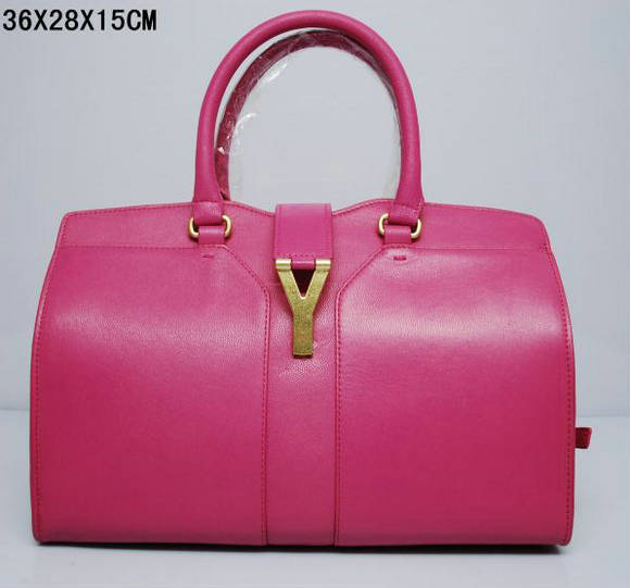 YSL Cabas 2012-Yves Saint Laurent Cabas Chyc In Pink Suede Women's Top Handle Bag 136122