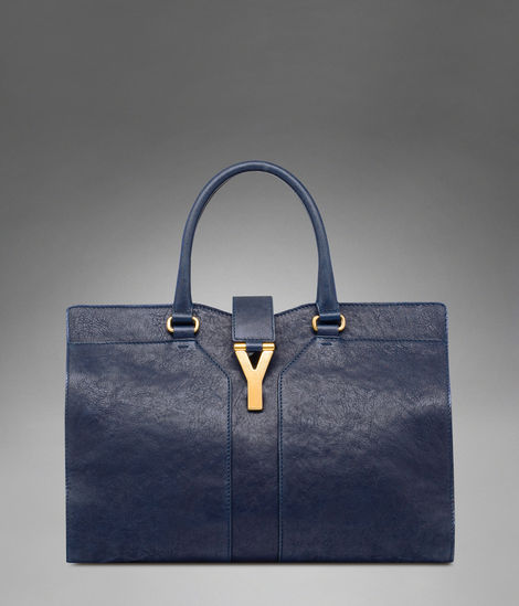 YSL Cabas 2012-Yves Saint Laurent Cabas Chyc In Navy Women's Top Handle Leather Bag 99972