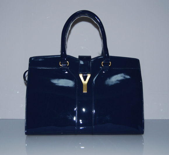 YSL Cabas 2012-Yves Saint Laurent Cabas Chyc In Sapphire Patent Leather Women's Top Handle Bag 110113