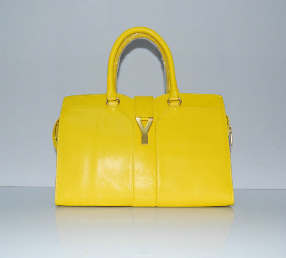 YSL Cabas 2012-Yves Saint Laurent Cabas Chyc In Yellow Suede Women's Top Handle Bag 136116
