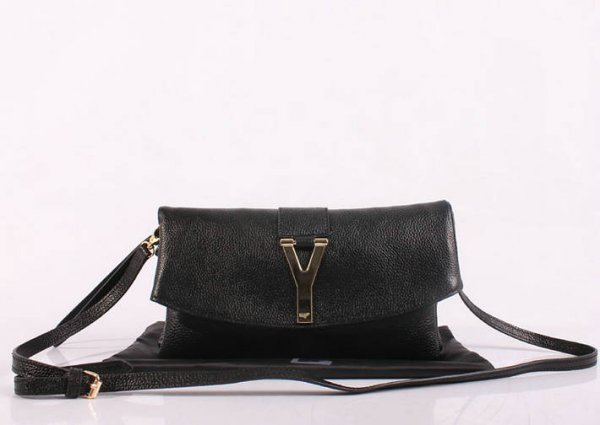 2013 YSL Bags-Yves Saint Laurent Chyc In Black Leather Women's Shoulder Bag 26384