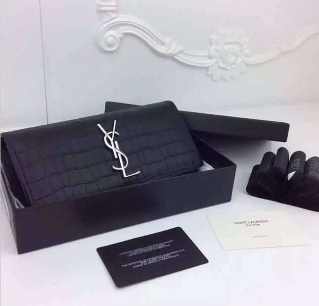 Saint Laurent Small Leather Goods Cheap Sale-Saint Laurent Wallet in Black Crocodile Leather