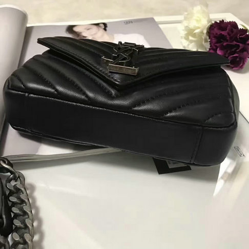Classic Saint Laurent Baby Monogram Satchel in Black Matelasse Leather