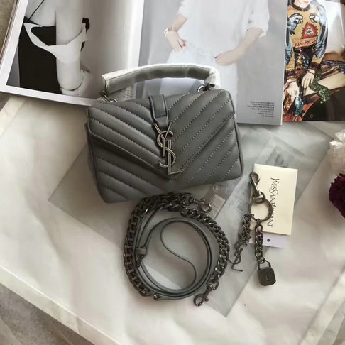 Classic Saint Laurent Baby Monogram Satchel in Grey Matelasse Leather