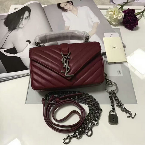 Classic Saint Laurent Baby Monogram Satchel in Dark Red Matelasse Leather